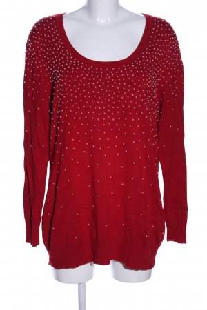 Emilia Lay Rundhalspullover rot Punktemuster Casual-Look