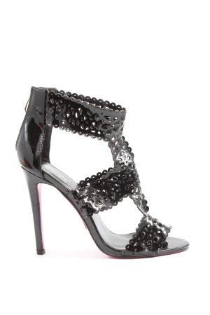 Emilia Shoes Peep Toe Pumps black wet-look