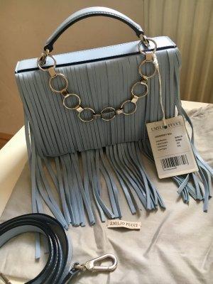 Emilio Pucci Sac à franges bleu azur cuir