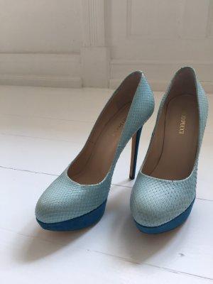 Emilio Pucci High platform Heels blau python suede dame pumps