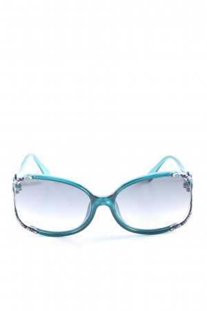 Emilio Pucci Oval Sunglasses turquoise-lilac abstract pattern elegant