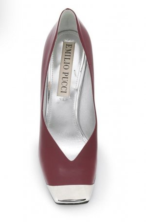 Emilio Pucci square toe heels red leather metall silver pumps