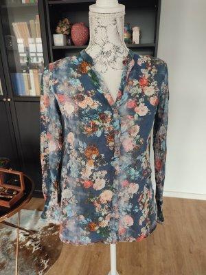 Emily Bluse dunkelblau mit Blumen Gr. 36 S neu