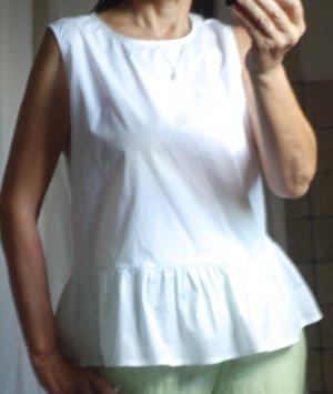 Emily van den Bergh Bluse ärmellos, Top, Volant, 100% Baumwollen weiß, schlichtes Design, A-Linie, feiner, glatter Stoff, NEU, Gr. 38