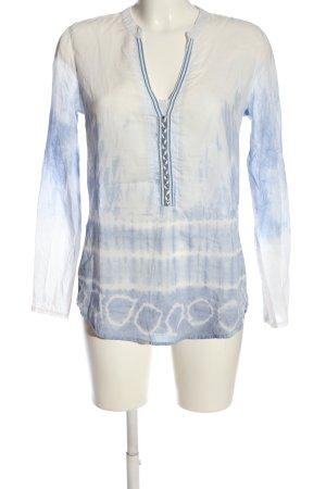 Emily van den Bergh Hemd-Bluse blau-weiß abstraktes Muster Casual-Look