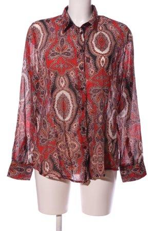 Emily van den Bergh Hemd-Bluse rot-wollweiß abstraktes Muster Casual-Look