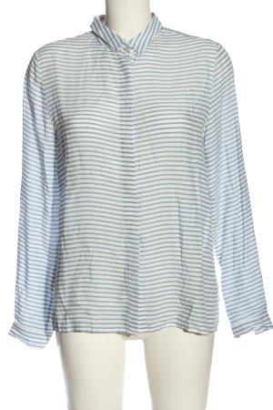 Emily van den Bergh Hemd-Bluse weiß-blau Allover-Druck Casual-Look