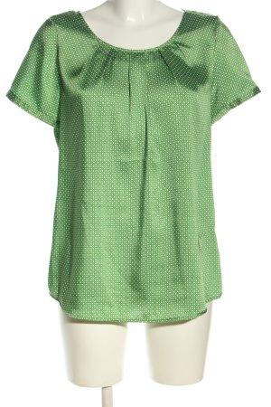 Emily van den Bergh Kurzarm-Bluse khaki-creme Punktemuster Casual-Look