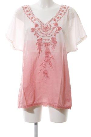 Emily van den Bergh Kurzarm-Bluse weiß-pink Farbverlauf Casual-Look