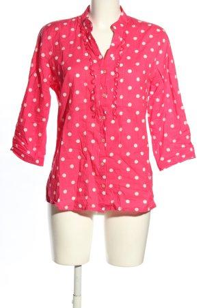 Emily van den Bergh Langarm-Bluse pink-weiß Punktemuster Casual-Look
