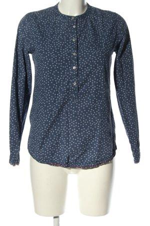 Emily van den Bergh Langarm-Bluse blau-weiß Punktemuster Casual-Look