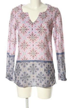 Emily van den Bergh Langarm-Bluse pink-blau abstraktes Muster Casual-Look