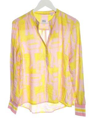 Emily van den Bergh Langarm-Bluse pink-blassgelb Allover-Druck Casual-Look