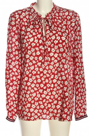 Emily van den Bergh Langarm-Bluse rot-weiß Allover-Druck Business-Look