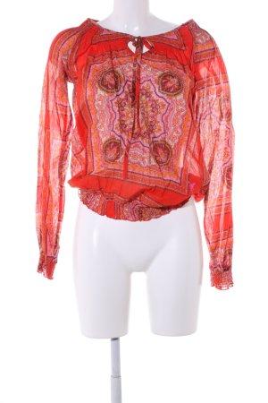 Emily van den Bergh Langarm-Bluse rot abstraktes Muster Casual-Look