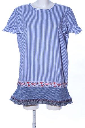 Emily van den Bergh T-Shirt blau-weiß grafisches Muster Casual-Look