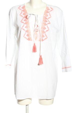 Emily van den Bergh Tunikabluse weiß-rot Casual-Look