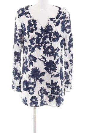 Emily van der Bergh Tuniekjurk wit-blauw bloemenprint zakelijke stijl