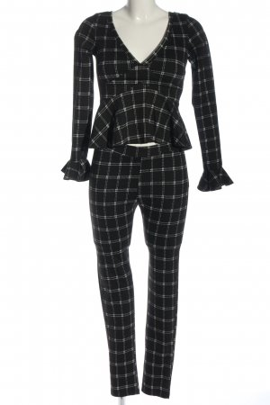 Emma & Ashley Knitted Twin Set black-white check pattern casual look