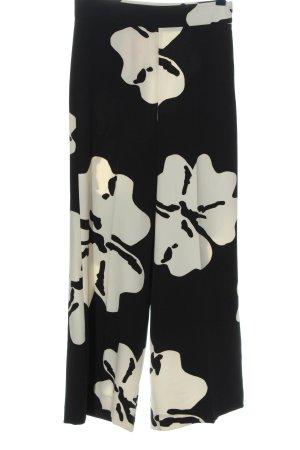 Emme by Marella Luźne spodnie czarny-biały Wzór w kwiaty W stylu casual