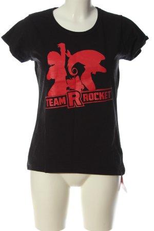 EMP Print-Shirt schwarz-rot Schriftzug gedruckt Casual-Look