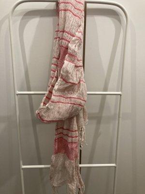 Emporio Armani Bufanda de flecos crema-rojo frambuesa