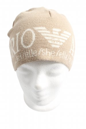 Emporio Armani Beanie nude-natural white printed lettering casual look