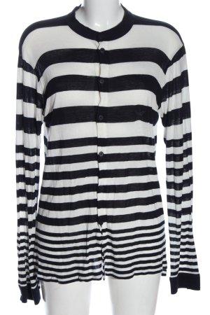 Emporio Armani Cardigan weiß-schwarz Streifenmuster Casual-Look