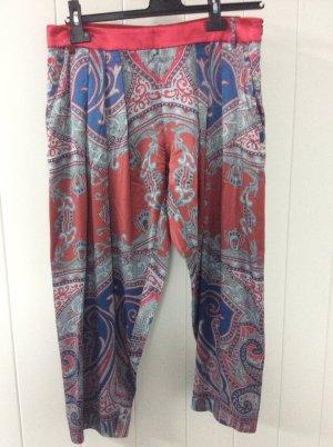 Emporio Armani Falda pantalón de pernera ancha azul acero-rojo oscuro Seda