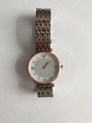 Emporio Armani Watch With Metal Strap silver-colored-rose-gold-coloured