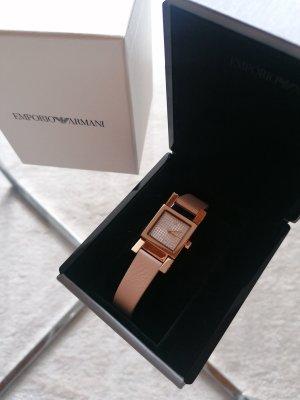 Emporio Armani Zegarek ze skórzanym paskiem w kolorze różowego złota
