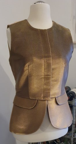 Emporio Armani Chaleco de tela vaquera marrón arena