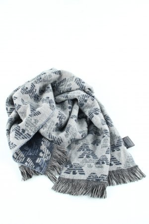 Emporio Armani Fringed Scarf light grey-blue allover print business style