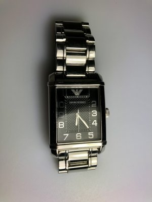 Armani Collezioni Montre avec bracelet métallique argenté-noir
