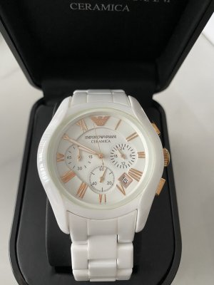 Emporio Armani Montre analogue blanc-or rose