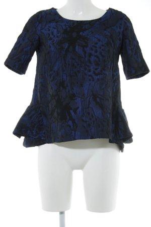 Emporio Armani Kurzarm-Bluse stahlblau-schwarz schlichter Stil
