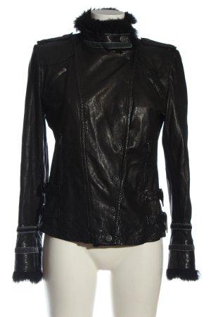 Emporio Armani Leather Jacket black casual look