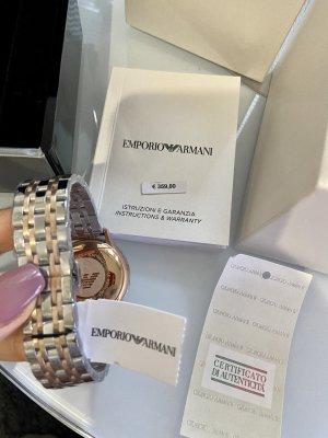 Emporio Armani Zegarek z metalowym paskiem srebrny-różany