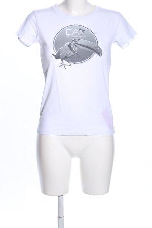 Emporio Armani Print-Shirt weiß-hellgrau Motivdruck Casual-Look