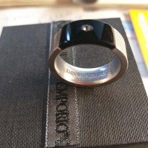 Emporio Armani Bague en argent noir-argenté