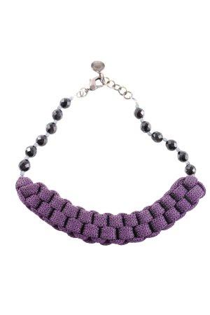Emporio Armani Collier incrusté de pierres violet-noir style décontracté