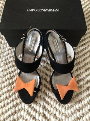 Emporio Armani Stilettos orange schwarz Schleife