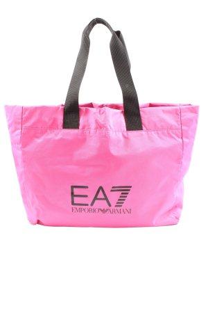 Emporio Armani Canvas Bag pink-black printed lettering casual look
