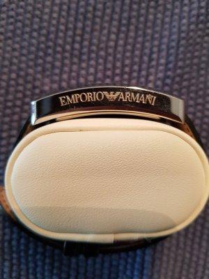 Armani Montre avec bracelet en cuir noir