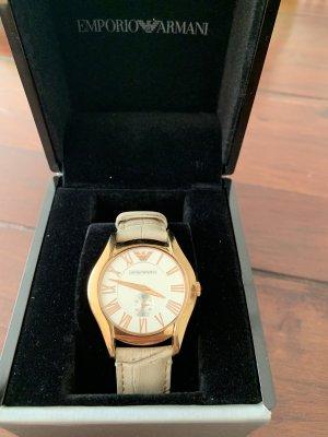 Emporio Armani Horloge met lederen riempje licht beige-roségoud