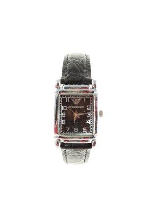 Emporio Armani Uhr mit Lederarmband schwarz-silberfarben Casual-Look