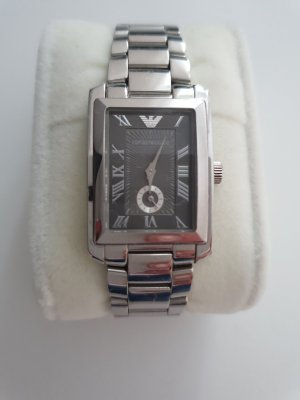 Emporio Armani Uhr silber grau-schwarzes Ziffernblatt