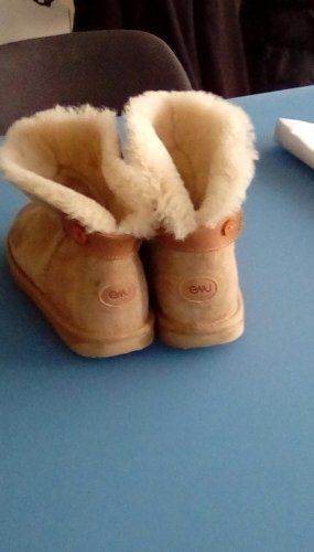 Emu Snow Boots gold orange leather