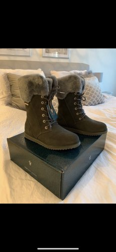 Emu Fur Boots grey-grey brown leather