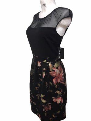 En Focus Damen Kleid schwarz Blumen glänzend XL